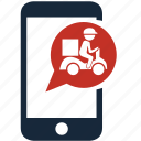 delivery, delivery man, fast delivery, mobile, shipping, transport, transportation icon