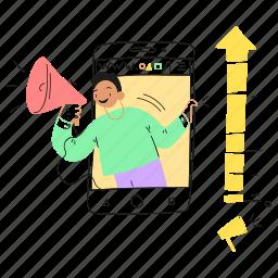 megaphone, phone, arrow, digital, mobile, marketing, app, advertisement, conversion, ads, up