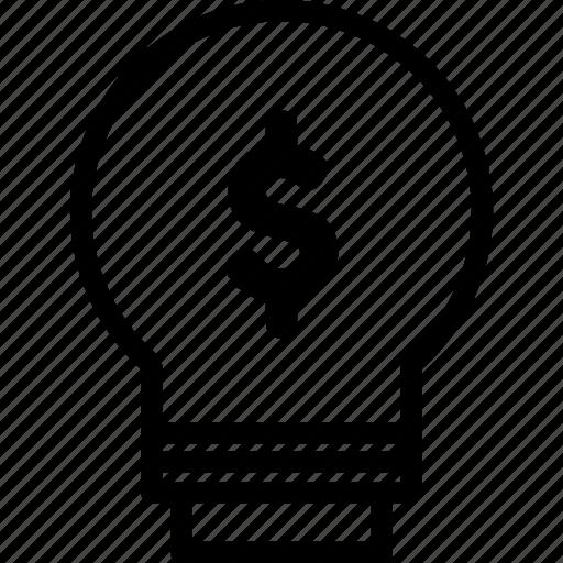 bulb, creative, creativity, idea, innovation, money, think icon