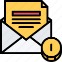 coin, email, letters, marketing, money, promotion, seo icon