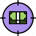 banknote, marketing, money, promotion, seo, target icon