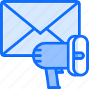 email, letter, marketing, megaphone, promotion, seo icon