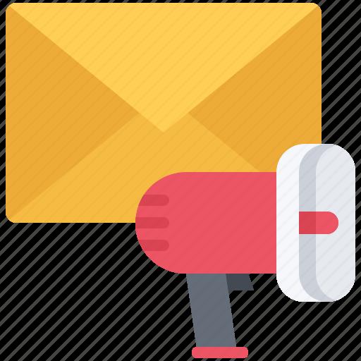 email, letter, marketing, megaphone, promotion, seo icon