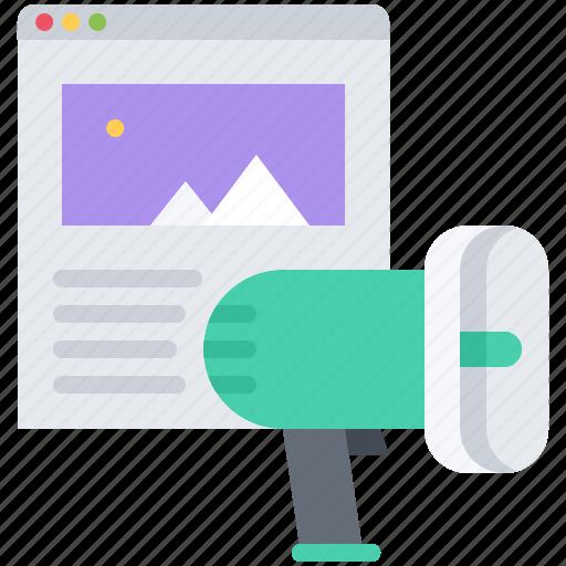 marketing, megaphone, page, promotion, seo, site icon