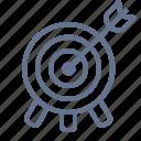 archery, arrow, bullseye, goal, marketing, target, targeting icon