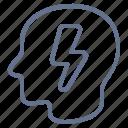 bolt, head, idea, lightning, profile, smart, brainstorm