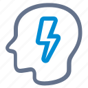 bolt, brainstorm, head, idea, lightning, profile, smart icon
