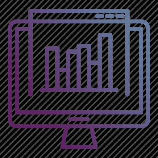 analytics, marketing, screen, site, statistics icon