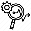 analysis, arrow, focus, gear, loop, makreting, marketing icon