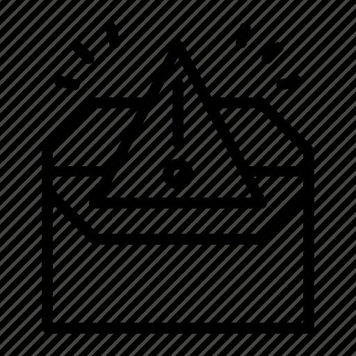 alert, envelope, marketing, marketing icon, spam, warning icon