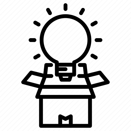 box, lamp, light, marketing icon, outside, the, think icon