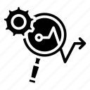 analysis, arrow, focus, gear, loop, makreting, marketing icon icon