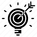 arrow, goal, idea, light, marketing, marketing icon, target