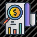 analytics, dollar, paper icon