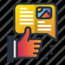 hand, like, marketing icon, msg, news, paper icon