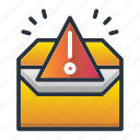 alert, envelope, marketing, marketing icon, spam, warning icon