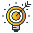 arrow, goal, idea, light, marketing, marketing icon, target icon