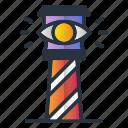 castle, eye, lighthouse, marketing icon, vision icon