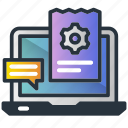 blog, gear, laptop, management, marketing icon, msg, paper icon