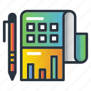 investments, marketing icon, paper, pen, return icon