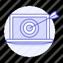 ad, aim, analysis, arrow, laptop, marketing, target
