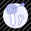aim, arrow, key, lock, market, marketing, target