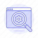 browser, cog, glass, magnifying, marketing, optimization, seo, setting icon