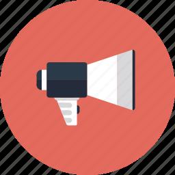 alarm, alert, announce, audio, broadcast, business, communication, marketing, megaphone, message, signal, sound, web icon