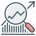 analysis, case study, chart, graph, magnifier, marketing icon