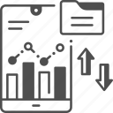 banking, mobile phone, smartphone, statistics, stock market icon