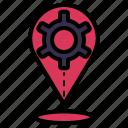 location, setting, gear, navigation, pin