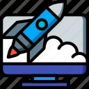 selling, launch, marketing, sales, desktop, retail icon