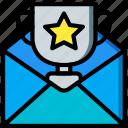 selling, retail, marketing, sales, mail, reward icon