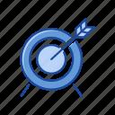 arrow, bullet, dart board, target icon
