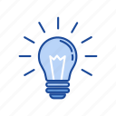 bulb, idea, light, thoughts icon