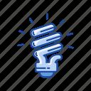 bulb, idea, light, spiral bulb