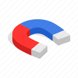 attract, attraction, horseshoe, isometric, magnet, magnetic, physics icon