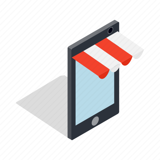 isometric, mobile, online, phone, shop, shopping, technology icon
