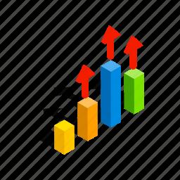 business, chart, diagram, growth, isometric, progress, statistic icon