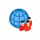 find, isometric, new, open, people, planet, studying icon