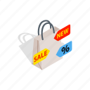 bag, handle, interest, isometric, money, new, sale icon