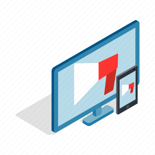 display, illustration, isometric, monitor, screen, tablet, technology icon