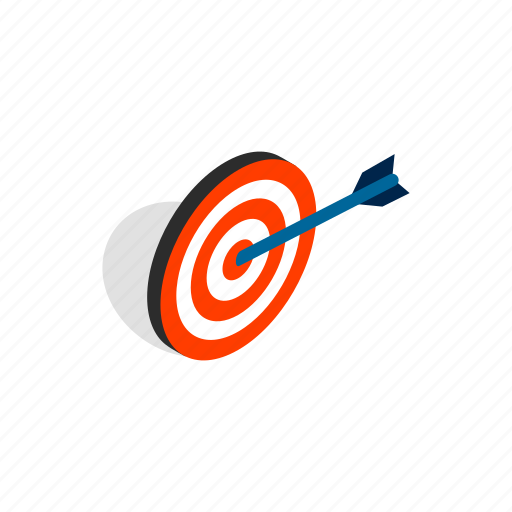 arrow, center, competition, dart, isometric, sport, target icon