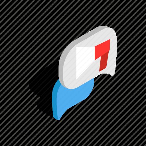 bubble, communication, isometric, message, shape, speech, talk icon