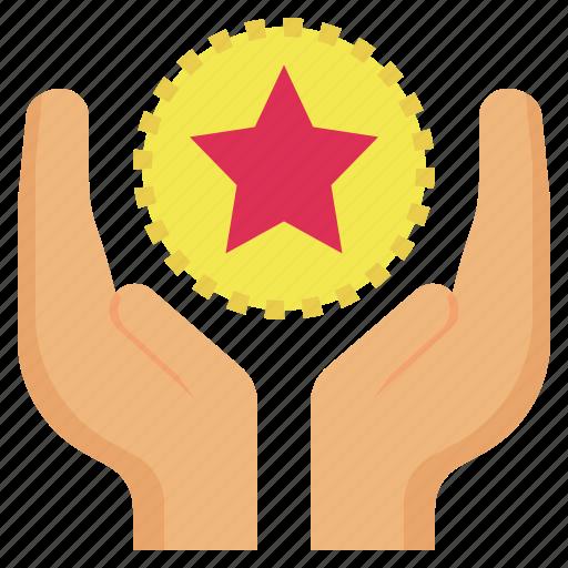 built, care, motivate, motivation, star, stimulate icon