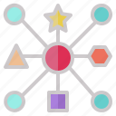 connect, geometry, network, networking, relation, shape, system icon