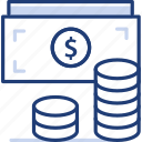 bank, coins, credit, fee, financial, money, wallet icon