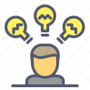brainstorm, electricity, idea, meeting icon