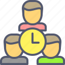 business, clock, partners, schedule, team, time, watch icon