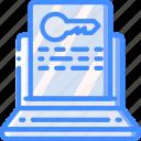 laptop, marketing, retail, sales, selling, unlock icon